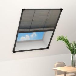 stradeXL Plisowana moskitiera okienna, aluminium, antracytowa, 80x100 cm