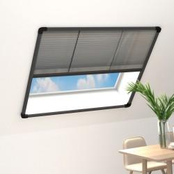 stradeXL Plisowana moskitiera okienna, aluminium, antracyt, 120x120 cm