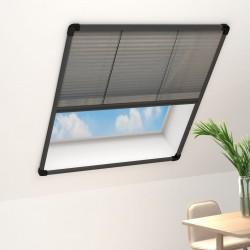 stradeXL Plisowana moskitiera okienna, aluminium, antracytowa, 80x160 cm