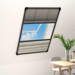 stradeXL Plisowana moskitiera okienna z roletą, aluminium, 110x160 cm