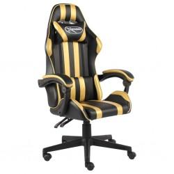 stradeXL Fotel dla gracza, czarno-złoty, sztuczna skóra