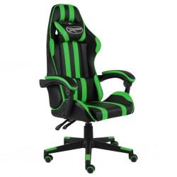 stradeXL Fotel dla gracza, czarno-zielony, sztuczna skóra