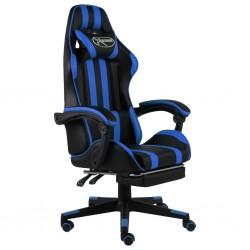 stradeXL Fotel dla gracza z podnóżkiem, czarno-niebieski, sztuczna skóra