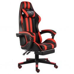 stradeXL Fotel dla gracza, z podnóżkiem, czarno-czerwony, sztuczna skóra