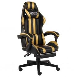stradeXL Fotel dla gracza z podnóżkiem, czarno-złoty, sztuczna skóra