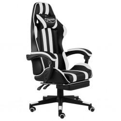 stradeXL Fotel dla gracza, z podnóżkiem, czarno-biały, sztuczna skóra