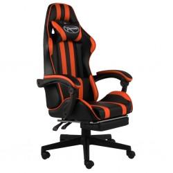 stradeXL Fotel dla gracza, z podnóżkiem, czarno-pomarańczowy, ekoskóra