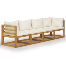 stradeXL 4-osobowa sofa ogrodowa z kremowymi poduszkami, drewno akacjowe