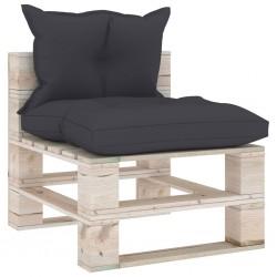 stradeXL Sofa środkowa z palet, z poduszkami, drewno sosnowe
