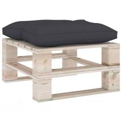 stradeXL Ogrodowy stołek z palet z antracytową poduszką, drewno sosnowe