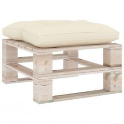 stradeXL Ogrodowy stołek z palet z kremową poduszką, drewno sosnowe