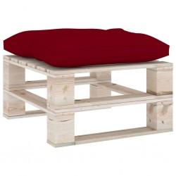 stradeXL Ogrodowy stołek z palet z bordową poduszką, drewno sosnowe