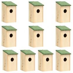 stradeXL Domki dla ptaków, 10 szt., lite drewno jodłowe, 12x12x22 cm