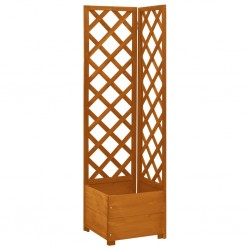 stradeXL Corner Trellis Planter Orange 40x40x150 cm Solid Firwood