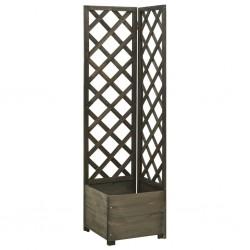stradeXL Corner Trellis Planter Grey 40x40x150 cm Solid Firwood