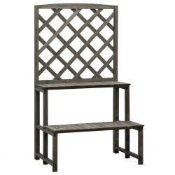 stradeXL Trellis Planter with Shelves Grey 70x42x120 cm Solid Firwood