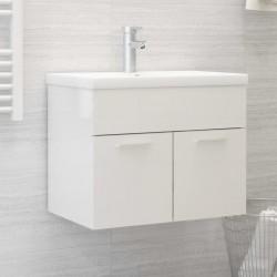 stradeXL Szafka pod umywalkę, biała, wysoki połysk, 60x38,5x46 cm, płyta