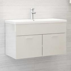 stradeXL Szafka pod umywalkę, biała, wysoki połysk, 80x38,5x46 cm, płyta