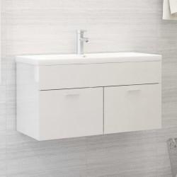 stradeXL Szafka pod umywalkę, biała, wysoki połysk, 90x38,5x46 cm, płyta