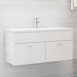stradeXL Szafka pod umywalkę, biała, wysoki połysk, 100x38,5x46 cm