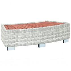 stradeXL Schodek do spa, jasnoszary, polirattan, 92 x 45 x 25 cm