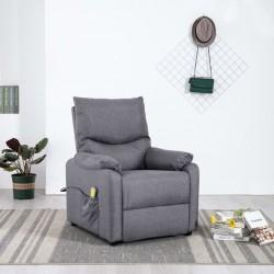 stradeXL Rozkładany fotel masujący, jasnoszary, obity tkaniną
