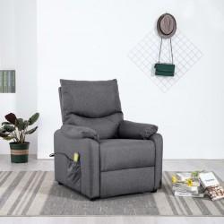 stradeXL Rozkładany fotel masujący, ciemnoszary, obity tkaniną