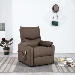 stradeXL Rozkładany fotel masujący, brązowy, obity tkaniną