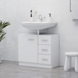 stradeXL Szafka pod umywalkę, biała, 63x30x54 cm, płyta wiórowa