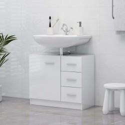 stradeXL Szafka pod umywalkę, biała, wysoki połysk, 63x30x54 cm, płyta