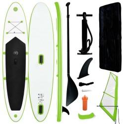 stradeXL Nadmuchiwana deska SUP z żaglem i akcesoriami, zielono-biała