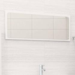 stradeXL Lustro łazienkowe, wysoki połysk, białe, 90x1,5x37 cm, płyta