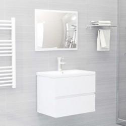 stradeXL 2-cz. zestaw mebli łazienkowych, wysoki połysk, biały, płyta