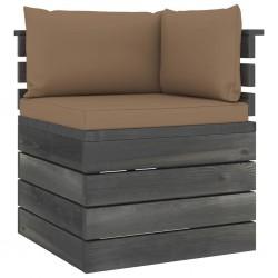 stradeXL Ogrodowa sofa narożna z palet, z poduszkami, drewno sosnowe