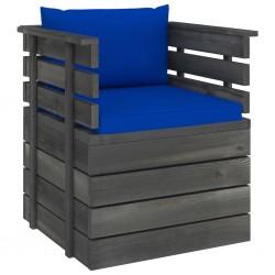 stradeXL Ogrodowy fotel z palet z poduszkami, drewno sosnowe
