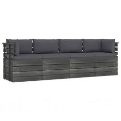 stradeXL Ogrodowa sofa 4-osobowa z palet, z poduszkami, drewno sosnowe