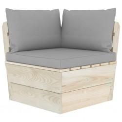 stradeXL Ogrodowa sofa narożna z palet z poduszkami, impregnowany świerk