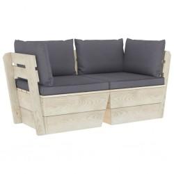 stradeXL Ogrodowa sofa 2-osobowa z palet, z poduszkami, drewno świerkowe