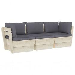 stradeXL Ogrodowa sofa 3-osobowa z palet, z poduszkami, drewno świerkowe