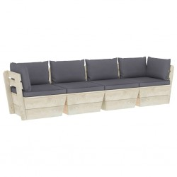 stradeXL Ogrodowa sofa 4-osobowa z palet, z poduszkami, drewno świerkowe