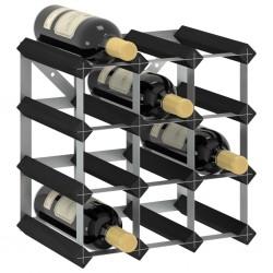 stradeXL Stojak na 12 butelek wina, czarny, lite drewno sosnowe