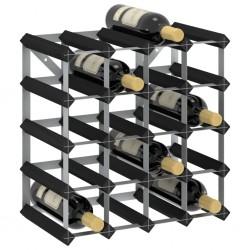 stradeXL Stojak na 20 butelek wina, czarny, lite drewno sosnowe
