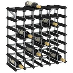 stradeXL Stojak na 42 butelki wina, czarny, lite drewno sosnowe