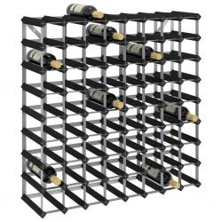 stradeXL Stojak na 72 butelki wina, czarny, lite drewno sosnowe