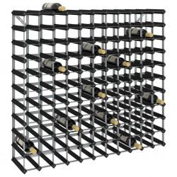 stradeXL Stojak na 120 butelek wina, czarny, lite drewno sosnowe