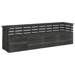 stradeXL Ogrodowa sofa 4-osobowa z palet, ciemnoszara, drewno sosnowe