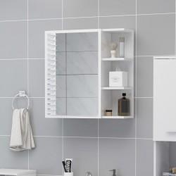 stradeXL Szafka z lustrem, wysoki połysk, biała, 62,5x20,5x64 cm, płyta
