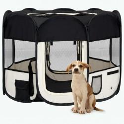 stradeXL Składany kojec dla psa, z torbą, czarny, 90x90x58 cm