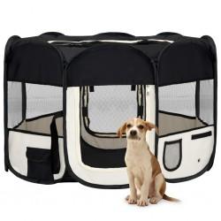 stradeXL Składany kojec dla psa, z torbą, czarny, 110x110x58 cm