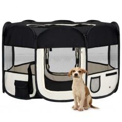 stradeXL Składany kojec dla psa, z torbą, czarny, 125x125x61 cm